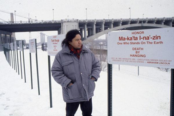 Edgar Heap of Birds, Building Minnesota, 1990, installation, Walker Art Center, image courtesy of the artist