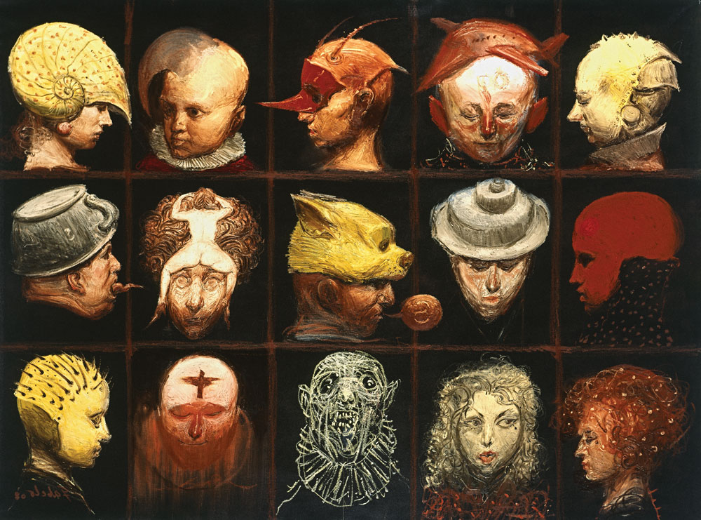 """Roberto Fabelo, Fifteen Mad Portraits, 2008, oil on canvas, 64 ½"""" x 48."""""""