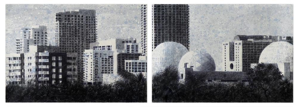 "Gustavo Acosta, Winter, 2016, mixed media on paper, 30"" x 90."""