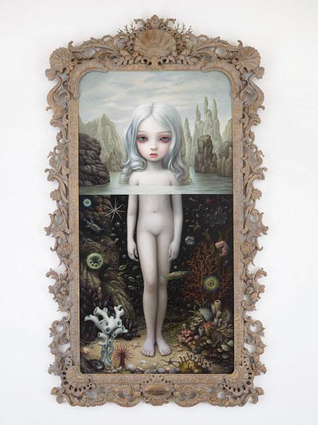 "Mark Ryden, Aurora, 2015, oil on canvas, 112"" x 58."" Courtesy of the artist and Paul Kasmin Gallery."