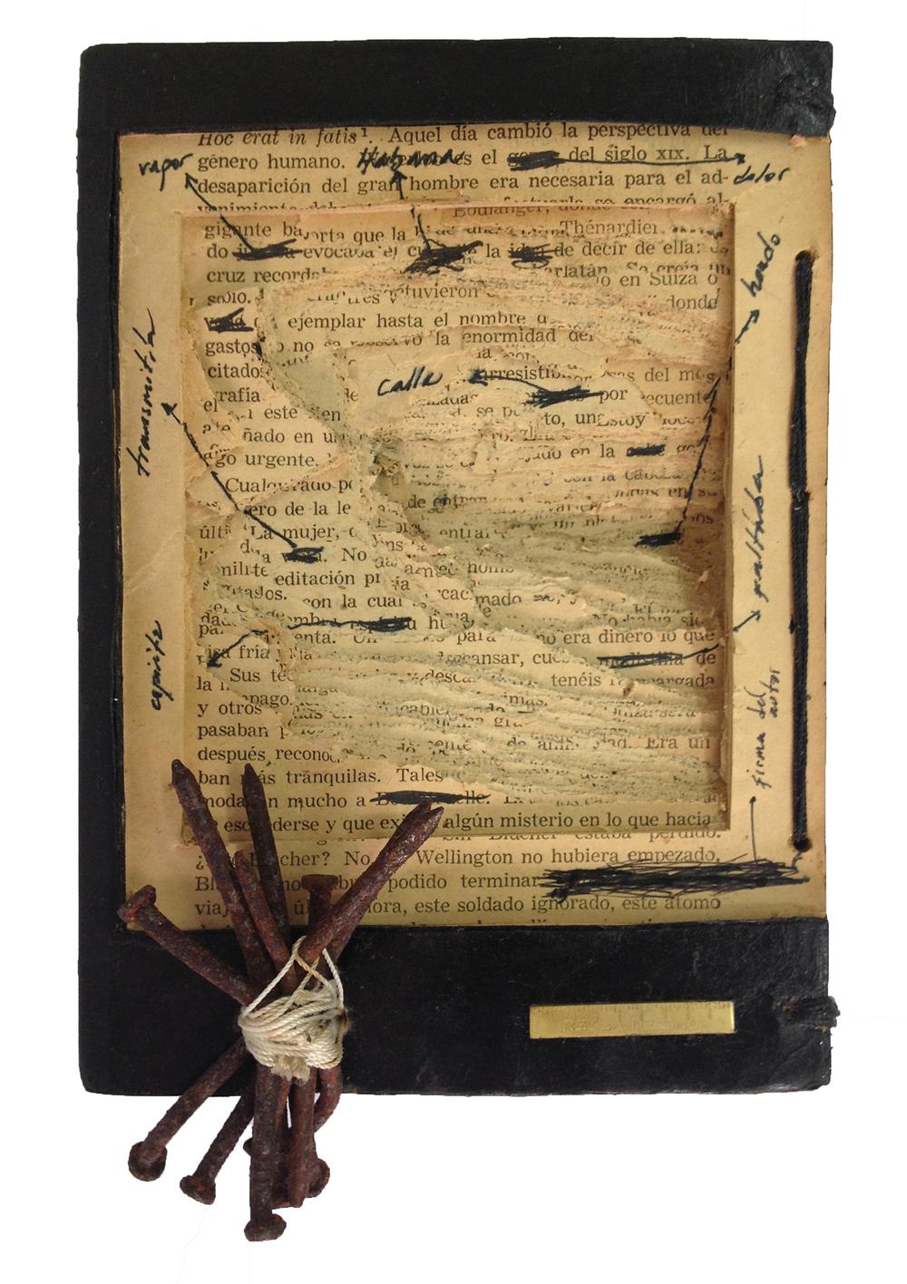 """Adonis Ferro, Regla de Oro, 2013, book-object, 8.26"""" x 7.08"""" x 1.81."""" Courtesy of the artist."""