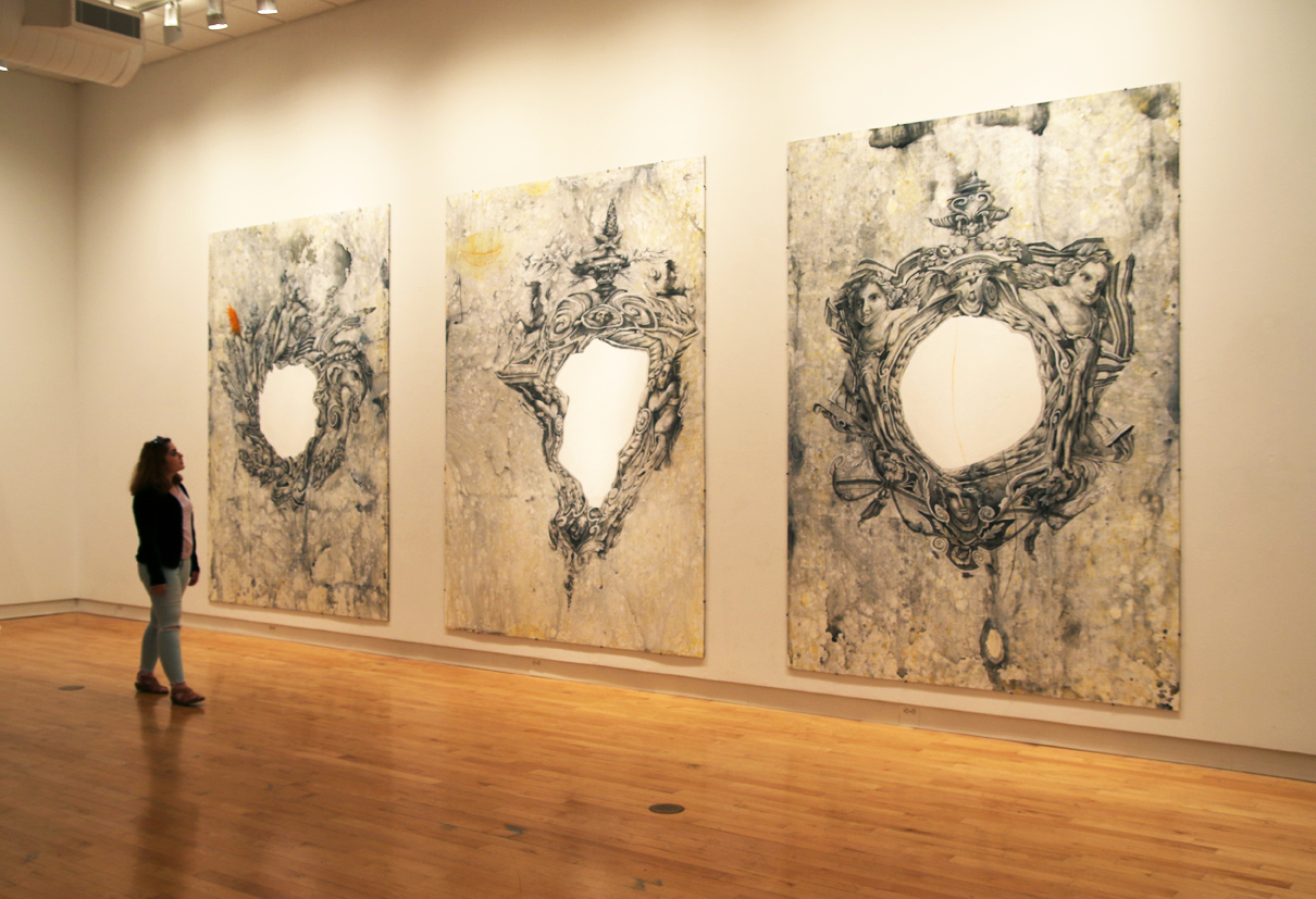 "Patricia Bellan-Gillen, Blind Spots 1/Cruel Poetics (triptych), 2015, colored pencil, acrylic, silverpoint ground and collage on birch, 115"" x 266.""  Courtesy of the artist."