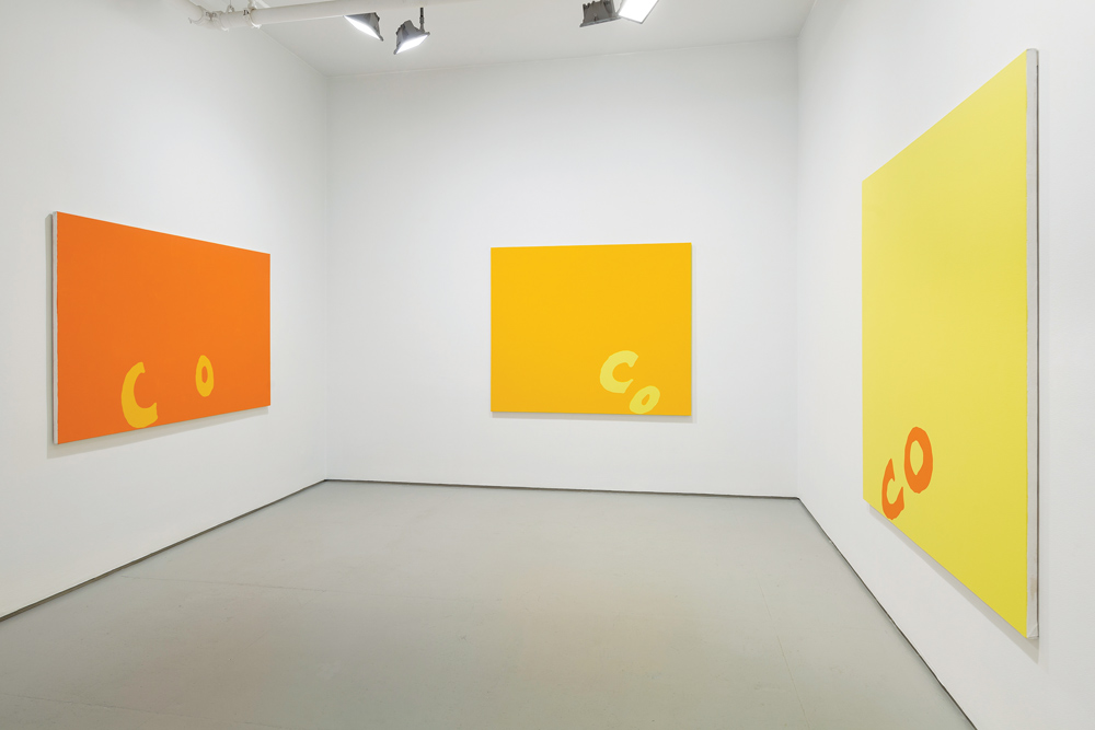 "Carl Ostendarp's ""Blanks"" exhibition, Elizabeth Dee Gallery, 2014. Courtesy of Elizabeth Dee Gallery."