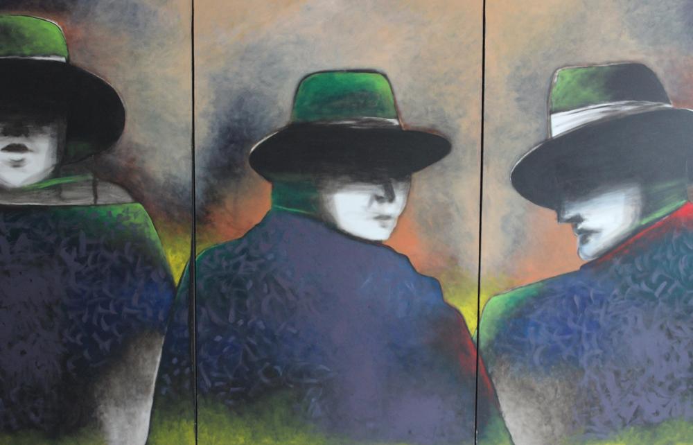 """Antonio Cortés Rolón, Un verano en Nueva York, 2005, acrylic on canvas, 132"""" x 60."""""""