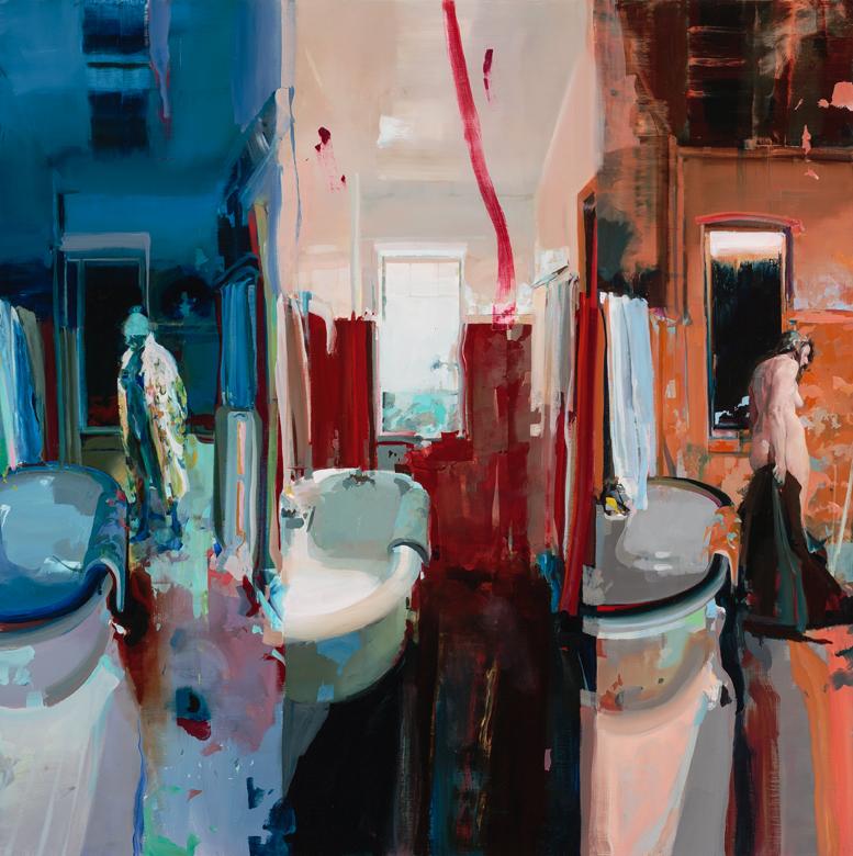"Alex Kanevsky, Three Views of a Bathroom, 2016, oil on linen, 66"" x 66."""
