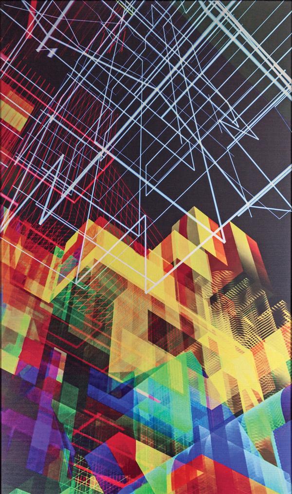 Miguel Chevalier, Méta-cités 2, 2016, print on aluminium with black wood frame, 24.80 » x 40.55 », unique artwork.