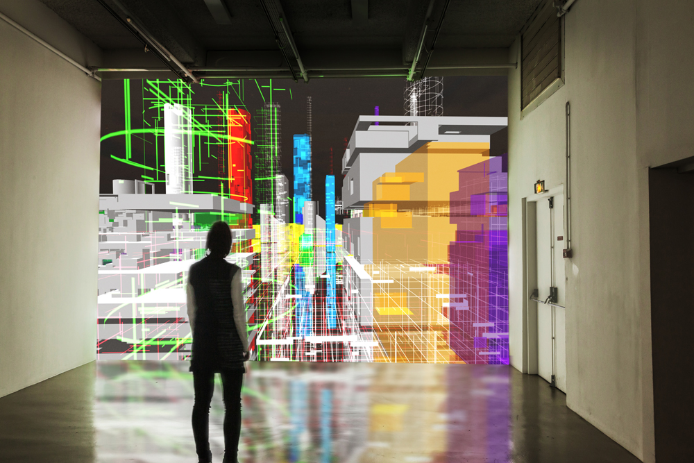 Miguel Chevalier, Meta-Cities, 2015, generative and interactive virtual-reality installation. Galerie Fernand Léger, Ivry-sur-Seine (France). Software: Claude Micheli.