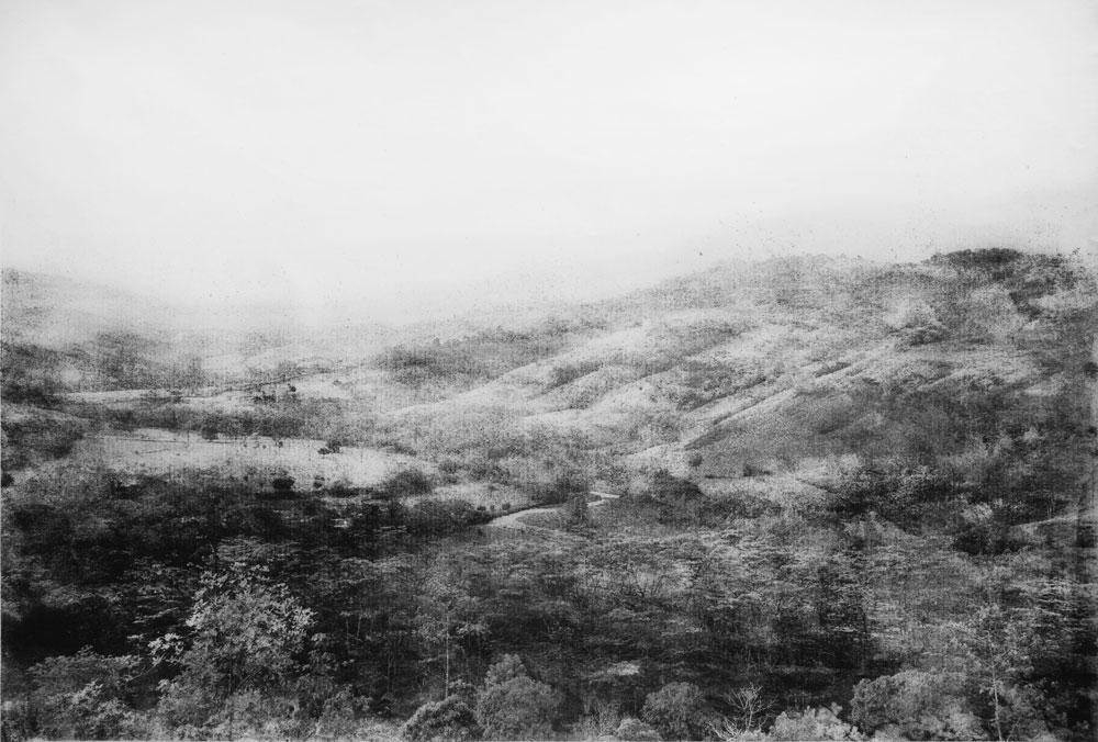 """Tomás Ochoa, Paraíso. Línea negra, Valle del Guejar, 2016, gunpowder on canvas, triptych, 94.48"""" x 141.7."""""""