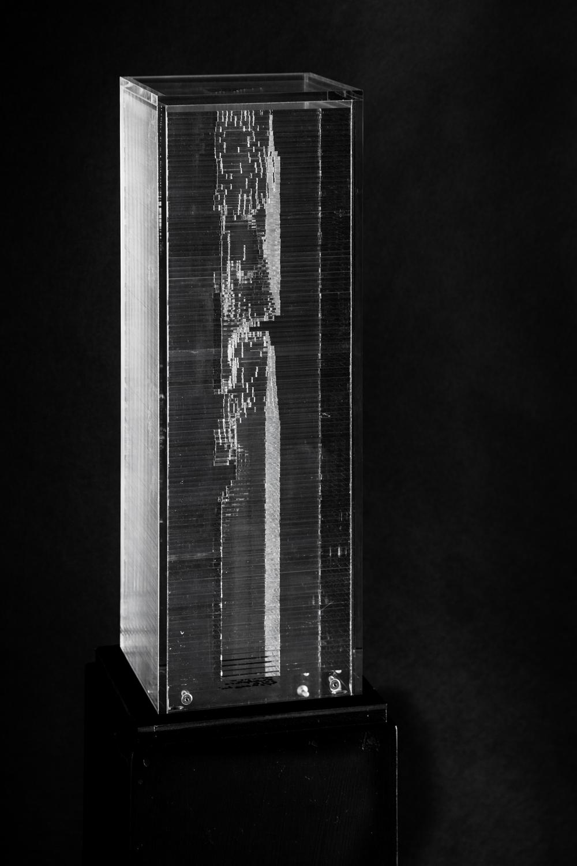 Miguel Chevalier, Pixels Archi-sculpture, 2016, sculpture in acrylic glass, 6.50 » x 6.50 » x 18.90 », unique artwork.
