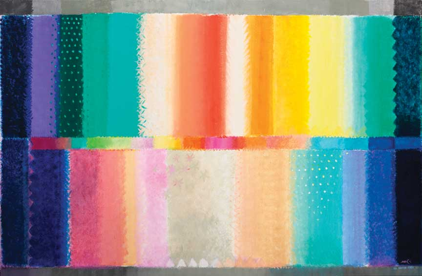 "Heinz Mack, Der Garten Eden [Chromatische Konstellation] (The Garden of Eden [Chromatic Constellation]), 2011, acrylic on canvas, 143"" x 236."" All images are courtesy of the artist and Sperone Westwater, New York."