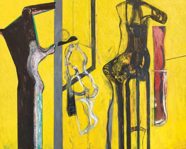 "Ramiro Llona, Diálogo suspendido, 2015 - 2016, oil on canvas, 118 1/8"" x 128."""