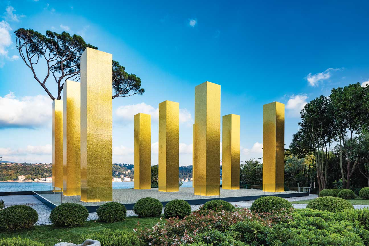 Heinz Mack, The Sky Over Nine Columns, 2014. Sakip Sabanci Museum Istanbul, 2015, Private Collection. Courtesy Beck & Eggeling International Fine Art. Photo: Murat Germen. This installation is a project by the Ralph Dommermuth Foundation for Art and Culture, which is managed by Beck & Eggeling International Fine Art.