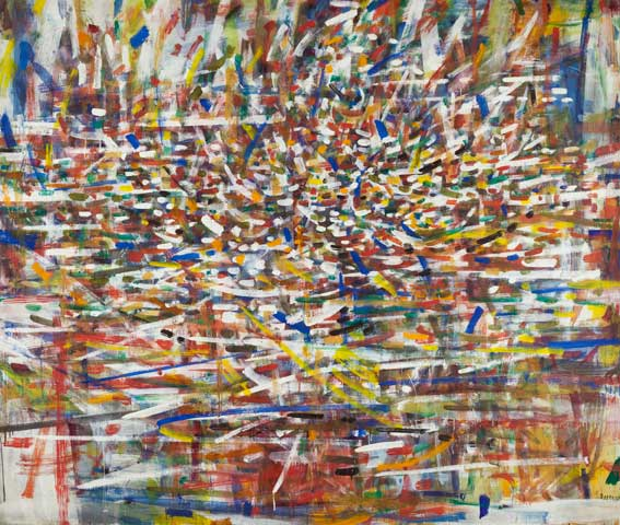 "Tancredi Parmeggiani, Space, Water, Nature, Sight, 1958, oil on canvas, 67"" x 79."" Brooklyn Museum. Gift of Peggy Guggenheim."