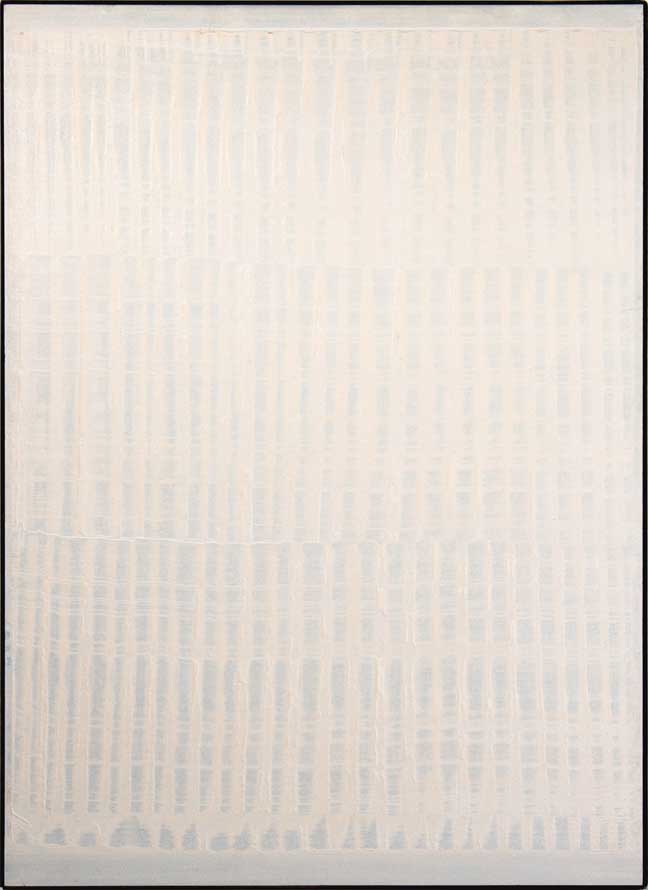 "Heinz Mack, Weisse Vibration [White Vibration], 1958, synthetic resin on cardboard on wood, 55 ½"" x 39 ¾."""