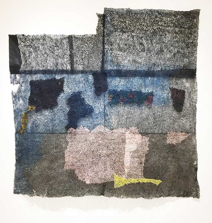 """Neha Vedpathak, See What You Don't See, 2017, plucked paper and pigment, 70"""" x 70."""" Courtesy of the artist and N'Namdi Contemporary, Miami."""