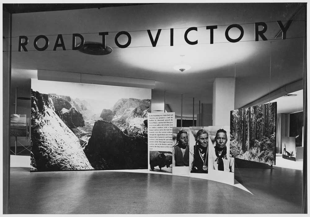 "Installation view of the exhibition, ""Road to Victory,"" on view at The Museum of Modern Art, New York, May 21, 1942 through October 4, 1942. The Museum of Modern Art Archives, New York. Photo: Albert Fenn."