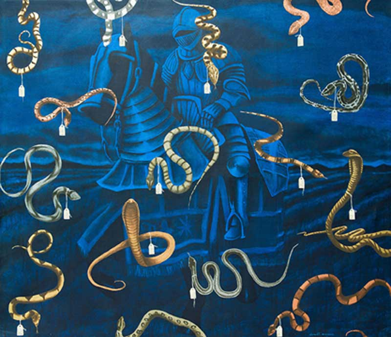 "Humberto Castro, Political Bestiary of the Caribbean, 2013, oil and acrylic on canvas, 85"" x 99."" Courtesy of the artist."