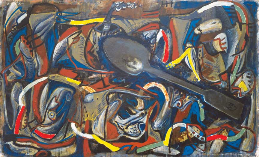 "Markus Lüpertz, Der große Löffel (The Large Spoon), 1982, oil on canvas, 78 ¾"" x 130."" Museum of Modern Art, New York, Anne and Sid Bass Fund and gift of Agnes Gund, 1986 © 2017 Markus Lüpertz / Artists Rights Society (ARS), New York / VG Bild-Kunst, Germany. © The Museum of Modern Art/Licensed by SCALA / Art Resource, NY. Image courtesy of The Phillips Collection."