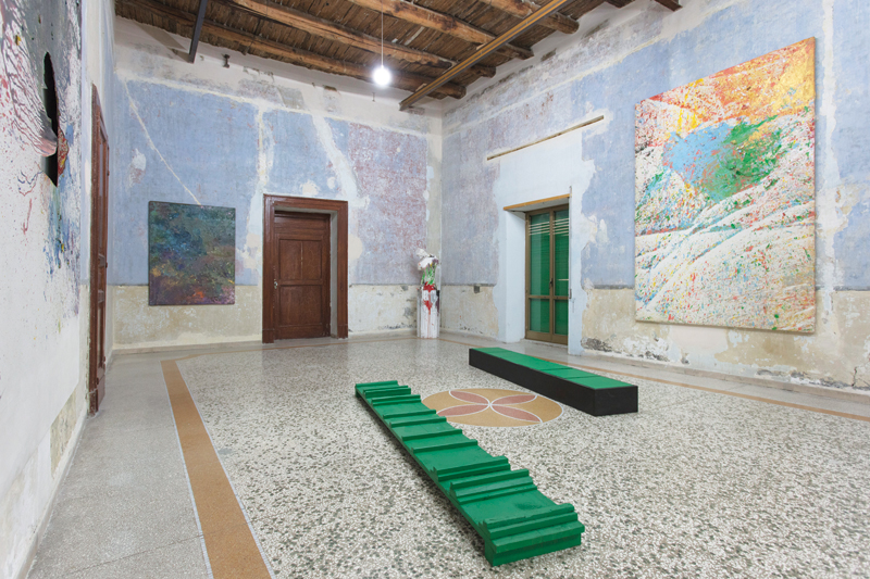 """I Giganti dell'Arte dal Teatro. Julian Beck-Hermann Nitsch-Shozo Shimamoto,"" 2017, installation view Casa Morra. Archivio d'Arte Contemporanea, Naples, Italy. Courtesy Fondazione Morra. Photo: Amedeo Benestante."